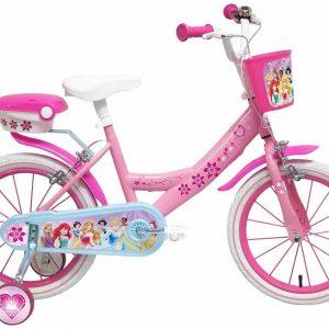 Bicicleta con ruedines y cesta