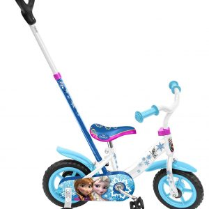 Bicicleta infantil Frozen con barra y ruedines